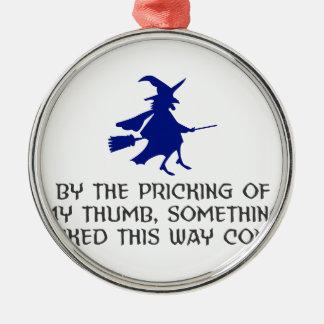 Ornement Rond Argenté Piquage de ma conception de Halloween de pouce