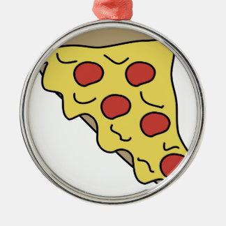 Ornement Rond Argenté Pizza de Melty