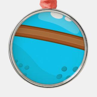 Ornement Rond Argenté Planète bleue