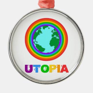 Ornement Rond Argenté Planète Utopia