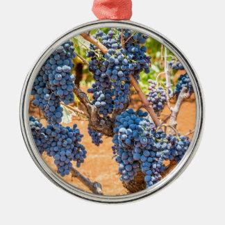 Ornement Rond Argenté Plante de raisin avec les groupes grapes.JPG bleu
