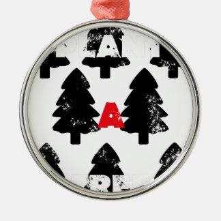 Ornement Rond Argenté Plantez le motif d'arbre d'A