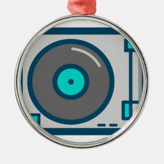 Ornement Rond Argenté Plaque tournante du DJ