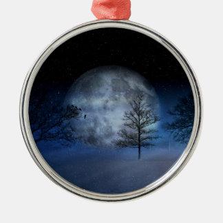 Ornement Rond Argenté Pleine lune parmi les cimes d'arbre