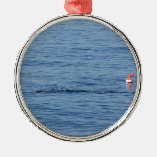 Ornement Rond Argenté Plongeur de mer dans le bain de costume de