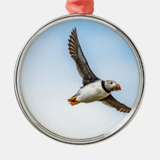 Ornement Rond Argenté Plume de mouche de faune de vol de mer d'oiseau de