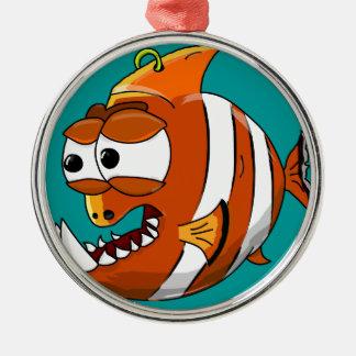 Ornement Rond Argenté poissons
