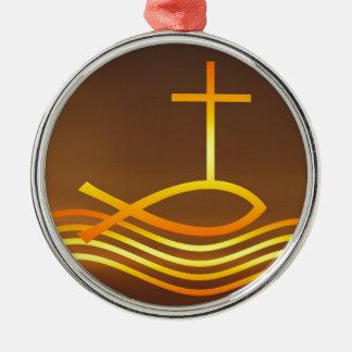 Ornement Rond Argenté Poissons et croix chrétiens