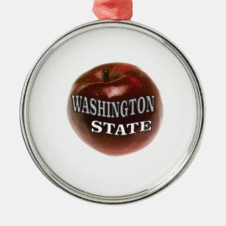 Ornement Rond Argenté Pomme de rouge de l'état de Washington