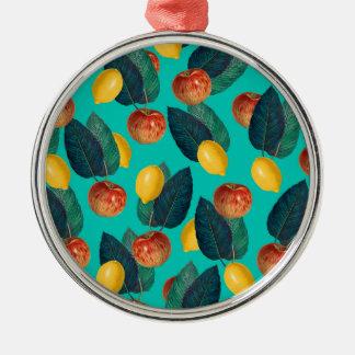Ornement Rond Argenté pommes et citrons turquoises