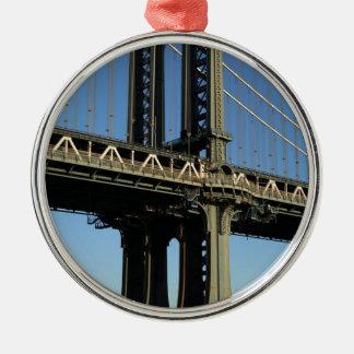 Ornement Rond Argenté Pont New York Manhattan Brooklyn
