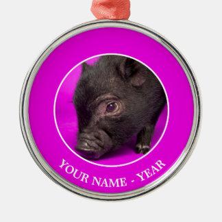 Ornement Rond Argenté Porc noir de bébé
