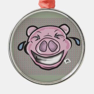 Ornement Rond Argenté Porc riant drôle