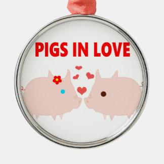 Ornement Rond Argenté porcs dans l'amour
