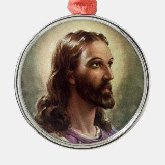 Ornement Rond Argenté Portrait religieux vintage, Jésus-Christ avec le