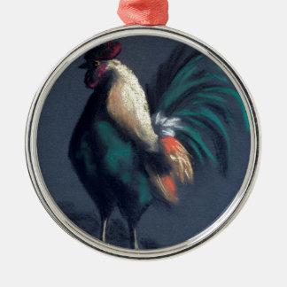 Ornement Rond Argenté Poulet en pastel de coq