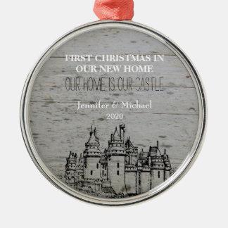 Ornement Rond Argenté Premier Noël dans notre nouveau château à la