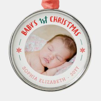 Ornement Rond Argenté Premier souvenir de Noël du bébé