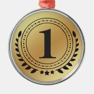 Ornement Rond Argenté Première médaille d'or d'honneur d'endroit avec le