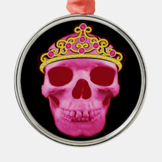 Ornement Rond Argenté Princesse rose Skull
