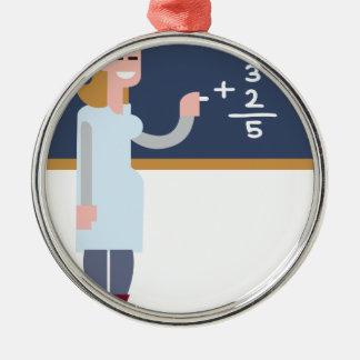 Ornement Rond Argenté Professeur de maths