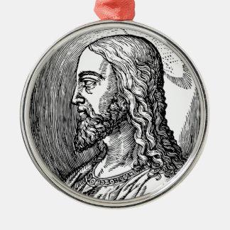 Ornement Rond Argenté Profil de Jésus-Christ