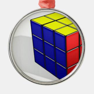 Ornement Rond Argenté Puzzle de cube