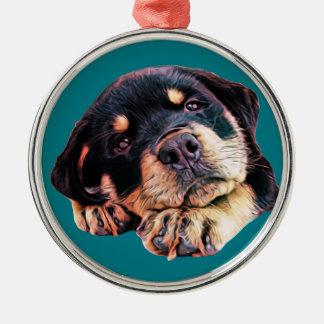 Ornement Rond Argenté Race allemande canine de chien de Rott d'amour de