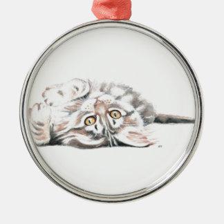 Ornement Rond Argenté Ragondin mignon Kitty du Maine d'aquarelle