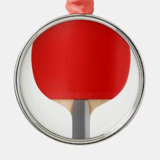 Ornement Rond Argenté Raquette de ping-pong