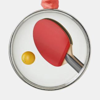 Ornement Rond Argenté Raquette et boule de ping-pong
