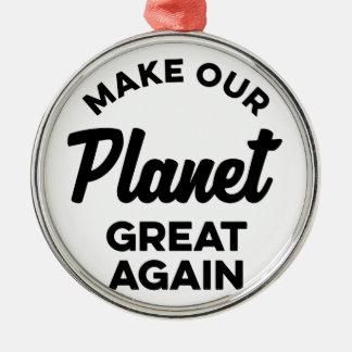 Ornement Rond Argenté Rendez notre planète grande encore