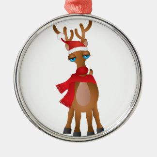 Ornement Rond Argenté Renne de Père Noël avec l'illustration d'écharpe