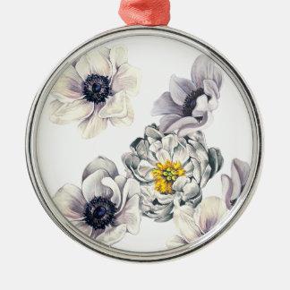Ornement Rond Argenté Ressort frais de fleur d'anémone florale de