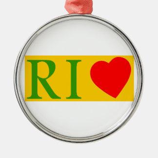 Ornement Rond Argenté Rio de janeiro love