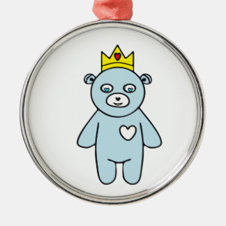 Ornement Rond Argenté Roi d'ours de nounours