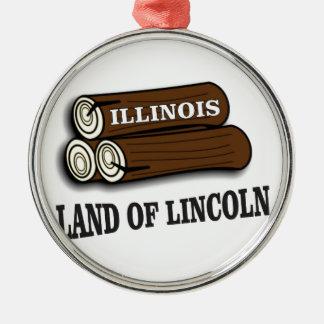 Ornement Rond Argenté Rondins de l'Illinois de Lincoln