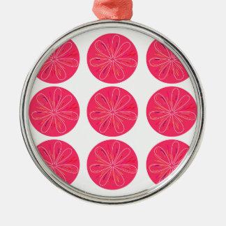 Ornement Rond Argenté Rose de citrons de conception