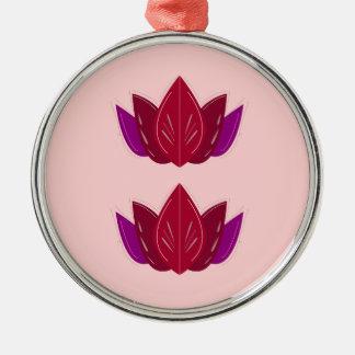 Ornement Rond Argenté Rose de lotus de santé