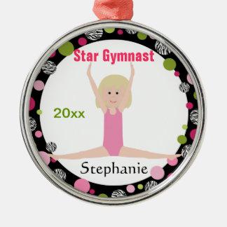 Ornement Rond Argenté Rose et vert de souvenir de gymnaste d'étoile
