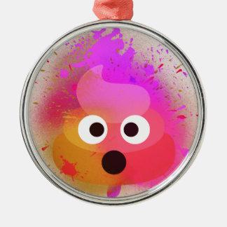 Ornement Rond Argenté Rose/pourpre de peinture de jet de dunette d'Emoji