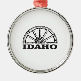Ornement Rond Argenté Roues de l'Idaho