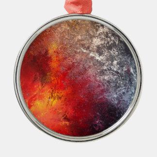 Ornement Rond Argenté Rouge et noir Art spray peinture abstrait