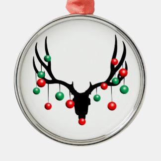 Ornement Rond Argenté Rudolph le renne flairé mort