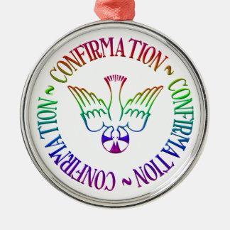 Ornement Rond Argenté Sacrement de la confirmation - descente de