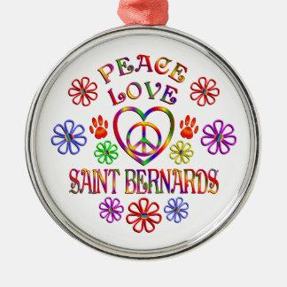 Ornement Rond Argenté Saint Bernards d'amour de paix