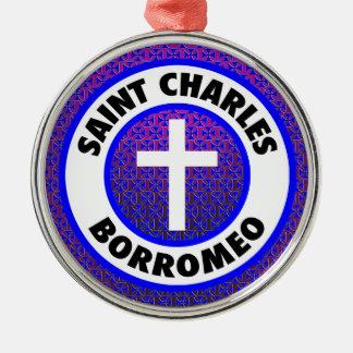 Ornement Rond Argenté Saint Charles Borromeo