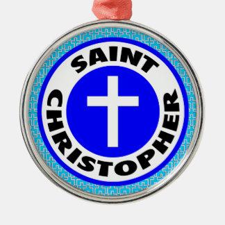 Ornement Rond Argenté Saint Christopher