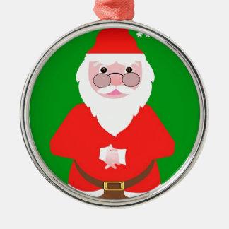 Ornement Rond Argenté Santa Claus