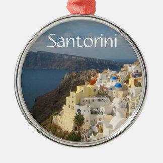 Ornement Rond Argenté Santorini pendant l'après-midi Sun